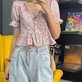 CosmoCorner Floral Square-Neck Short-Sleeve Blouse