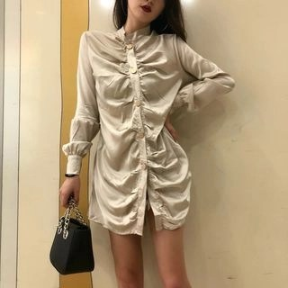Kamakura Long-Sleeve Shirt Dress Champagne - One Size