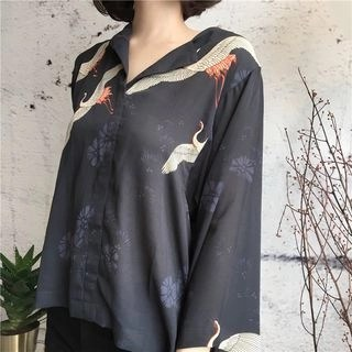 Kamakura Crane Print Chiffon Blouse As Shown In Figure - One Size