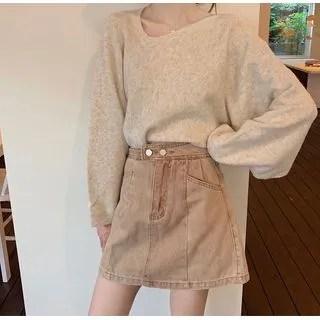 KANAMI High-Waist Mini A-Line Denim Skirt