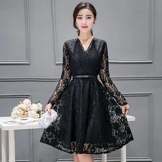 Allury Long-Sleeve V-Neck Lace Dress