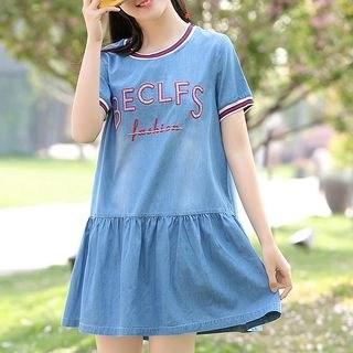 YICON Short-Sleeve Denim A-Line Mini Dress