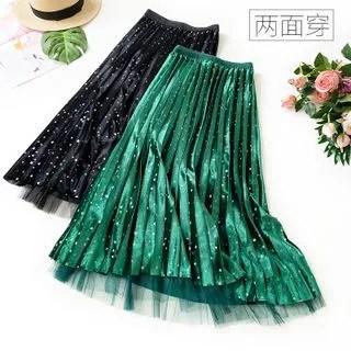 englard Mesh Panel Velvet Pleated Skirt