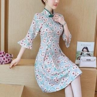 Diosa Floral Print Elbow-Sleeve A-Line Qipao