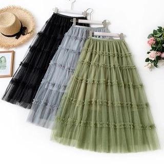 englard Frill Trim Layered Mesh Skirt