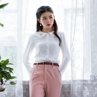 Long-Sleeve Embroidered Blouse White