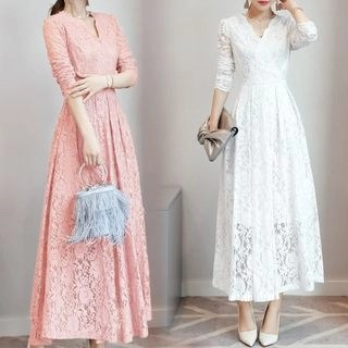 Allury Long-Sleeve Crewneck A-Line Sheath V-Neck Plain Lace Dress