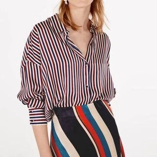 Chicsense Long-Sleeved Open-Front Striped Blouse