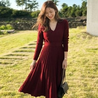 Alberlino Long-Sleeve Midi Knit Dress