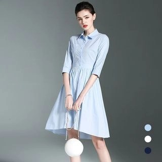 BUDELLY Elbow-Sleeve Collared Dress