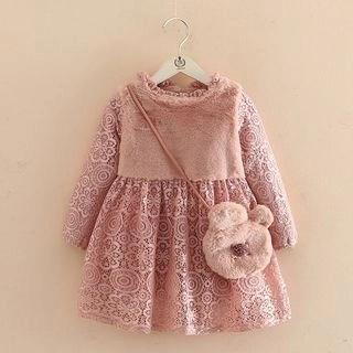 Seashells Kids Kids Furry Panel Long-Sleeve Lace Dress N/A