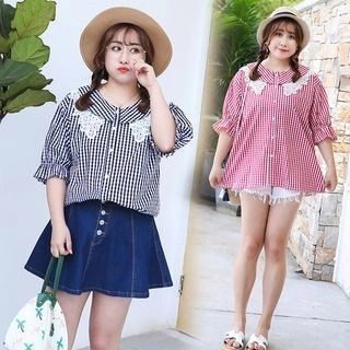 AIREN Elbow-Sleeve Lace Panel Plaid Blouse