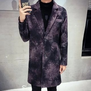 Printed One-Button Coat Purple