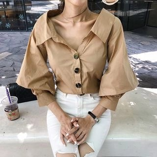 DABAGIRL Balloon-Sleeve Collared Blouse