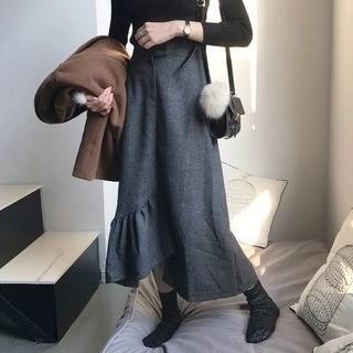 Plain Ruffle Hem Midi Skirt