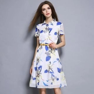 Floral Print Short-Sleeve Chiffon Dress