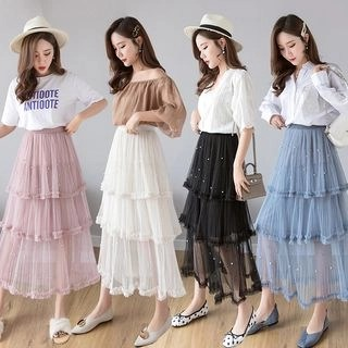 Vanaheim Faux Pearl Midi Mesh Skirt