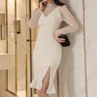 Aurora Mesh Panel Long-Sleeve Sheath Cocktail Dress