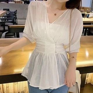 lilygirl Elbow Sleeve V-Neck Blouse