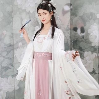 Nuwa Hanfu Set: Long-Sleeve Top + Short-Sleeve Top + Camisole + Maxi Skirt + Scarf