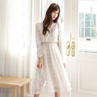 Elisa Rachel Tiered Long-Sleeve Midi A-Line Dress