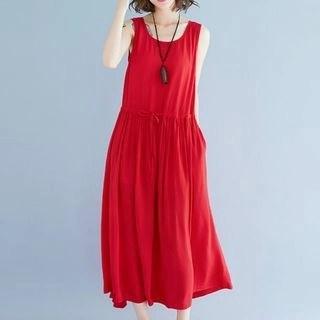 Diosa Plain Drawstring-Waist Midi Tank Dress