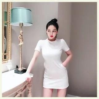 Sodoo Short-Sleeve A-line T-Shirt Dress
