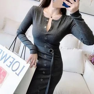 Sodoo Long-Sleeve Midi Sheath Dress