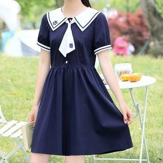 YICON Short-Sleeve Sailor Collar A-Line Dress
