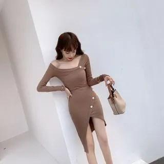 Sodoo V-Neck Long-Sleeve Sheath Dress