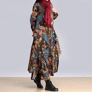 chic n' fab Mock Two-piece Patterned Linen-blend Dress