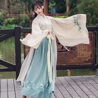 Nuwa Hanfu Set: Long-Sleeve Top + Maxi Skirt + Light Jacket