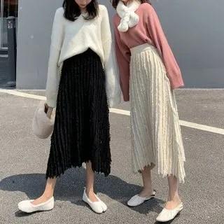 KANAMI Midi A-Line Knit Skirt