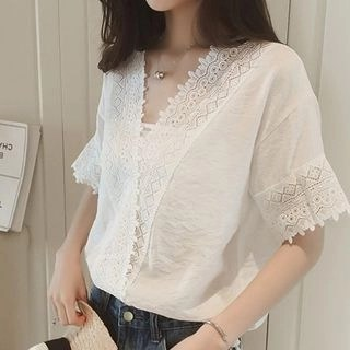 HYAKU Short-Sleeve Lace-Trim Blouse