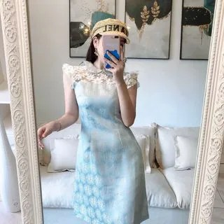 Sodoo Flower Panel Sleeveless A-line Dress