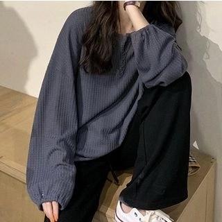 Shinsei Split-Neck Puff-Sleeve Blouse