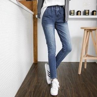 OrangeBear Pleated Waistband Stretch Skinny Jeans