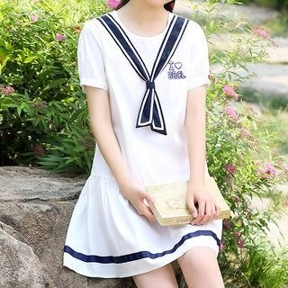 YICON Short-Sleeve Lettering A-Line Dress