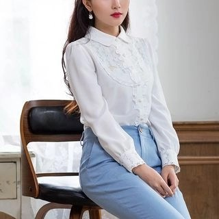 Long-Sleeve Frilled-Trim Embroidered Blouse White