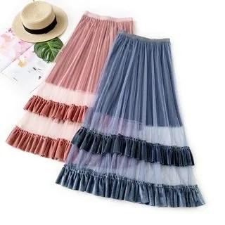 englard Ruffle Trim Mesh Panel Skirt