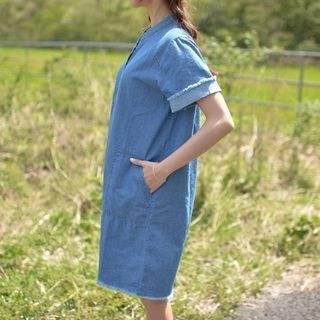 Fray-Edge Half-Placket Denim Dress