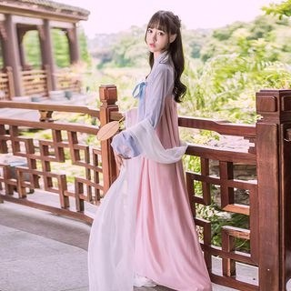 Nuwa Hanfu Set: Long-Sleeve Top + Strapless Maxi Dress + Scarf