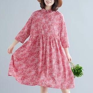 Diosa 3/4-Sleeve Patterned Tunic Dress