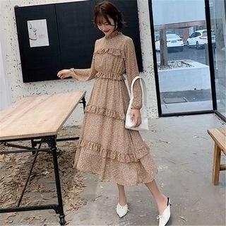 Tanzil Long-Sleeve Floral Print Frill Trim Midi Chiffon Dress