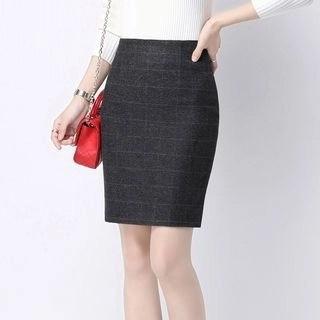 Yipin Check Pencil Skirt