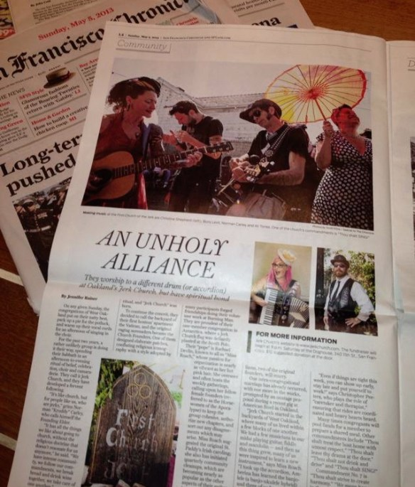 Jennifer Raiser's photo of her feature on Jerk Church in the SF Chronicle