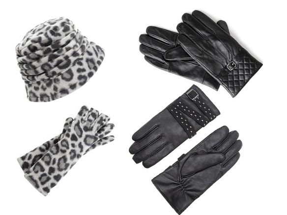 Leopard Hat and Gloves Quilted Gloves Studded Gloves