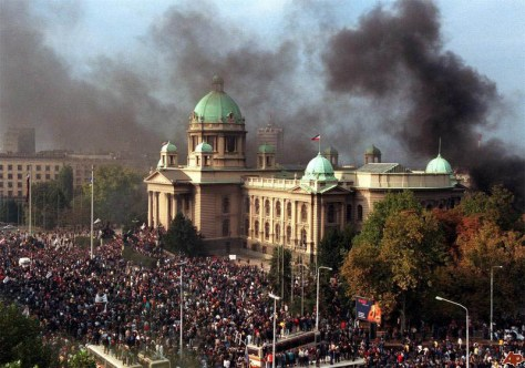 """Bulldozer Revolution"" Belgrade, Serbia 2000. Image Source: www.suedosteuropa.uni-graz.at"
