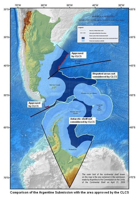 UNCLCS decision of March 2016 includes the islands within Argentina's maritime borders. Photo Credit : http://en.mercopress.com/2016/06/03/delimitation-of-the-argentine-continental-shelf