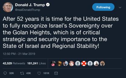 Trump Golan Tweet